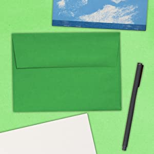 green A7 colored envelope