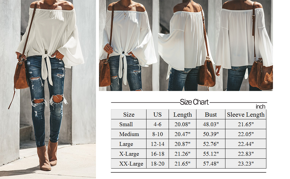 Women's Solid Off Shoulder Bell Sleeve Shirts Front Tie Knot Casual Blouses