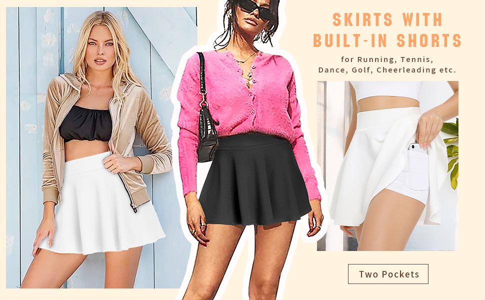 Women's Athletic Pleated Tennis Skirts with Mesh Shorts Running Golf Skorts Ball Pockets Miniskirt