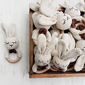 organic teether natural teether baby toys organic cotton baby toy teether crochet handmade wooden
