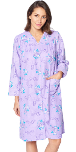 Long Sleeve warm nightgown fancy night dress snap front duster