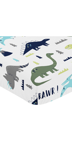 Fitted Crib Sheet for Blue and Green Modern Dinosaur Baby/Toddler Bedding Set Dinosaur Print