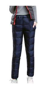 Women's Snow Ski Pants Windproof Waterproof Down Pants Warm Trousers
