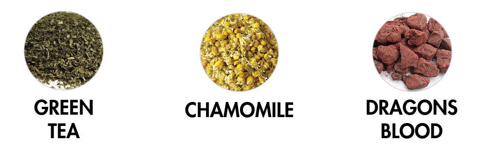 shampoo ingredients green tea chamomile dragons blood