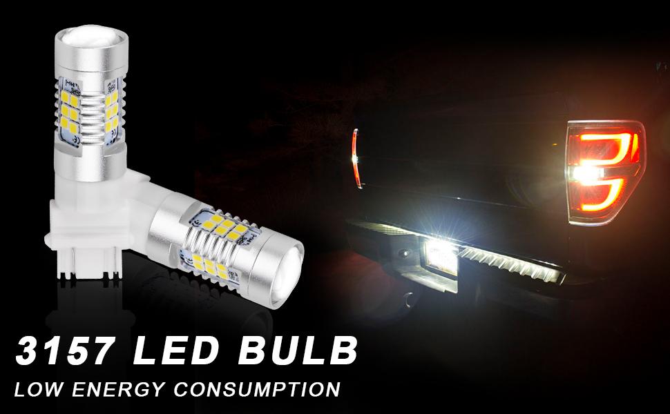 KATUR 4pcs 3157 3047 3057 3155 5630 33-SMD White 900 Lumens 6000K Super Bright LED Turn Tail Brake Stop Signal Light Lamp Bulb 12V 3.6W