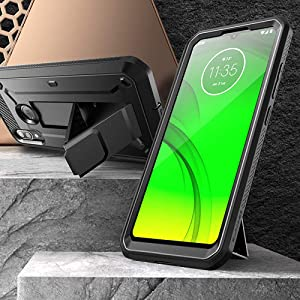 SupCase Unicorn Beetle Pro Case for Moto E6 Plus Built-in Screen Protector Holster & Kickstand Case