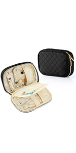 Teamoy Quilted Small Jewelry Travel Case