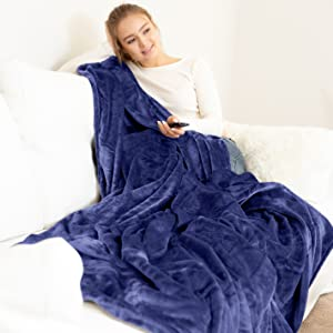 blanket with model navy