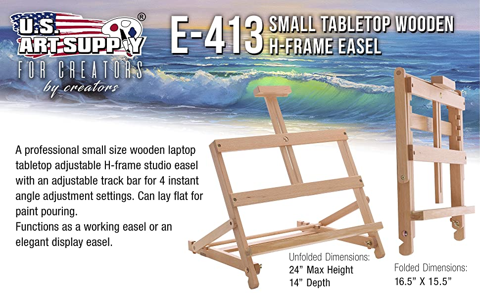 US Art Supply E-413 Small Tabletop Wooden H-Frame Easel