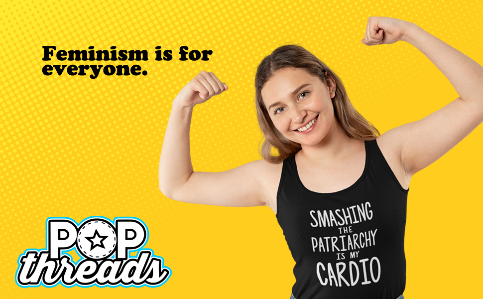Pop Threads Feminist Empowered Women She Persisted GRL Pwr Fashion Tank Top Tee for Women