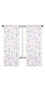 Lavender Purple, Pink, Grey and White Window Treatment Panels Curtains for Watercolor Floral