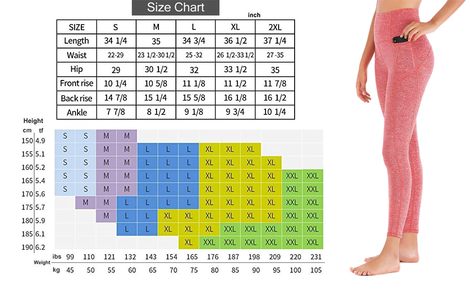 size chart yoga pants