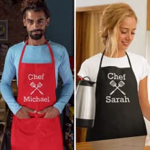 Custom Chef Apron for Men and Women Unisex Sizing Red Black Aprons