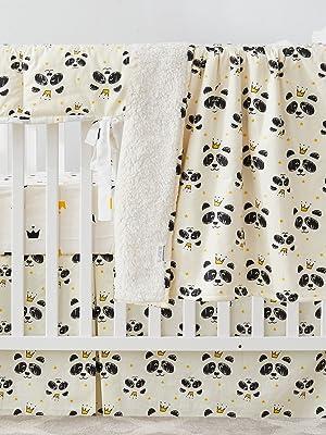 panda crown baby blanket set