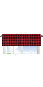 Woodland Buffalo Plaid Window Treatment Valance - Red and Black Rustic Country Lumberjack