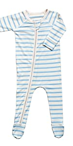 long sleeved striped baby infant onesie pajamas blanket sleeper in blue and white for little boy