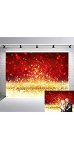 Red Golden Glitter Photography Backdrops Xmas Valentine's Day Photo Background
