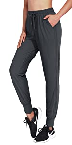Women Lightweight Joggers-Gray Tapered Jogging Pants with Pockets