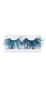 Feather False Eyelashes 3D thick winged Dark green exaggeration stage use Eye Makeup Tools Eyelashes