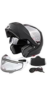 Modular snowmobile helmet with heated shield breath box