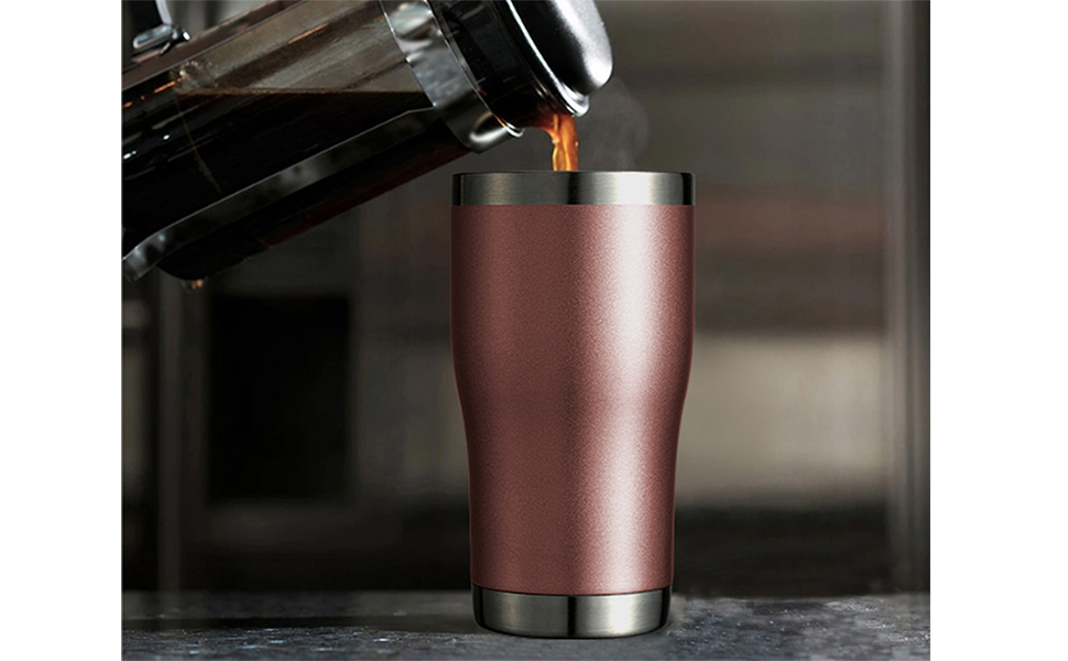 Insulated Stainless Steel 20oz Coffee Travel Mugs Tumblers Gifts Double Wall Morning Joe Rose Gold