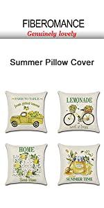 Lemon wreath car bicyle Summer pillow cover