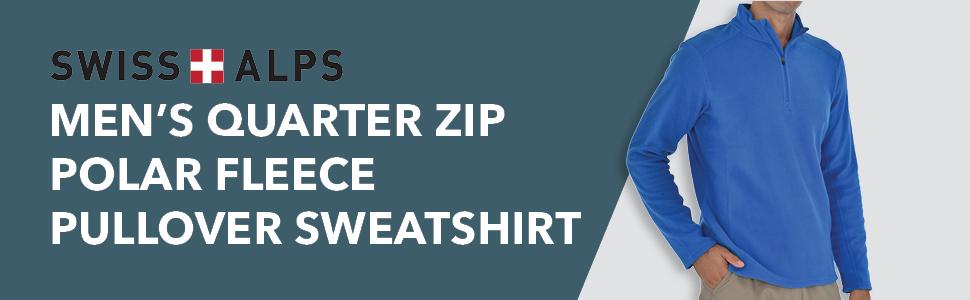 Swiss Alps Mens Quarter Zip Performance Polar Fleece Pullover Sweatshirt