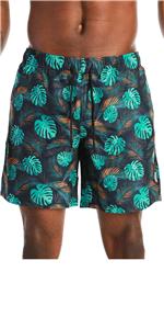 Men's Teal Print Quick Dry Swim Trunks