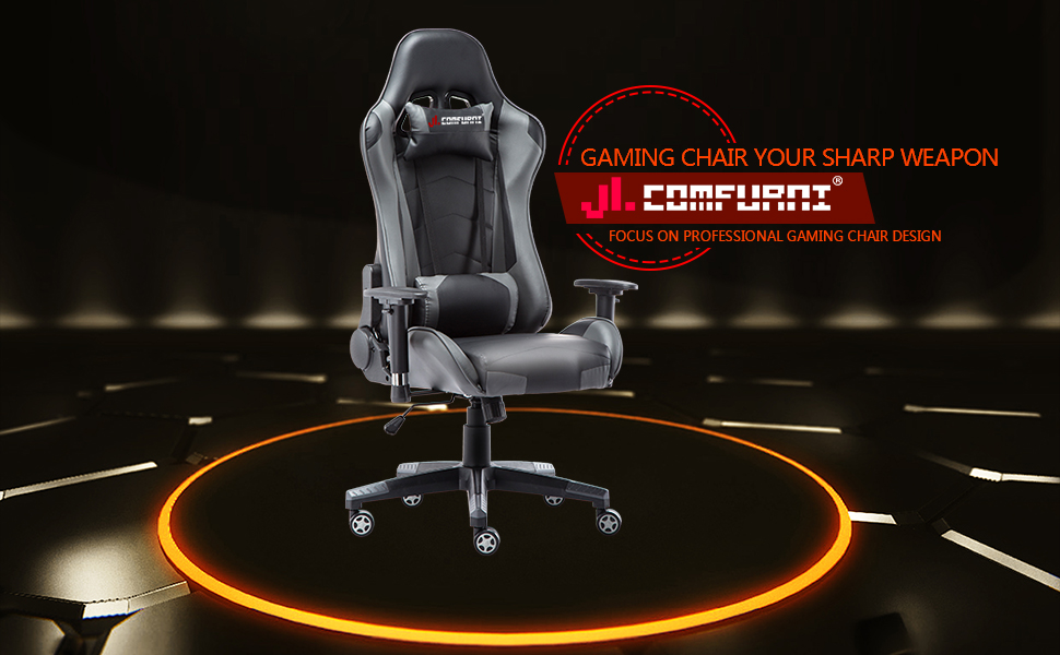 Jl Comfurni Gaming Chair Racing Style Ergonomic Swivel Computer Office Chairs Adjustable Height Reclining High Back With Lumbar Cushion Headrest Leather Task Chair Grey