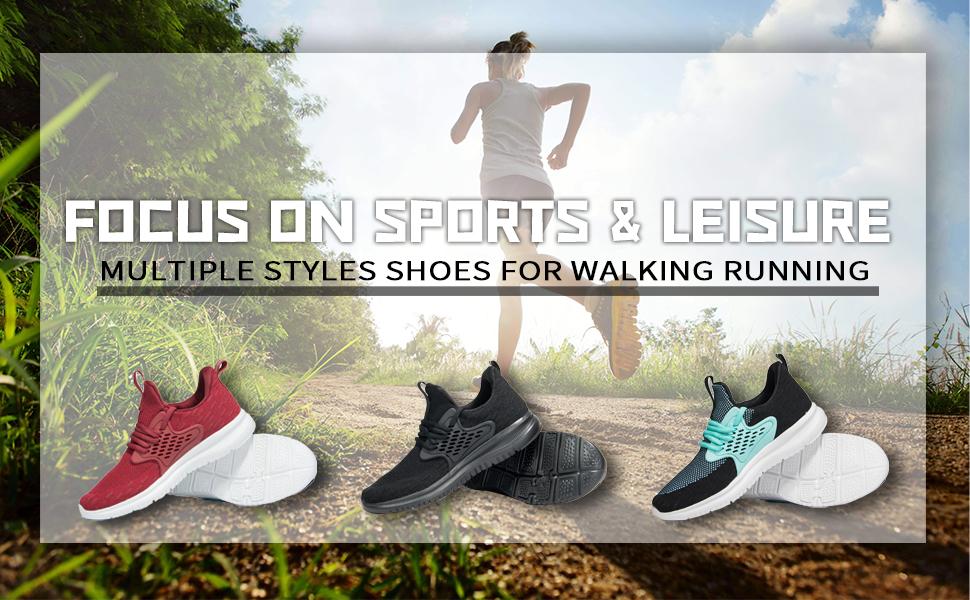 Women's Black Athletic Walking Shoes