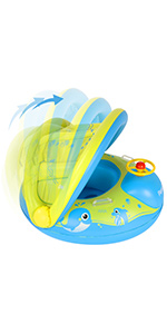 baby water float swimming ring with sunshade