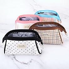 Oyachic Stripe Pencil Case Large Capacity Pencil Bag Trapezoid Shape Pencil Bag Cute Pens Bag