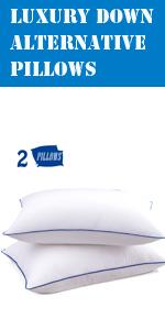 down alternative pillows queen set of 2 bed pillows for sleeping