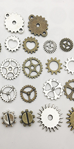 Assorted Color Antique Metal Steampunk Gears Charm Pendant for Crafting DIY Jewelry Making Accessory