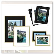 black white mat on gold frame with photos or matting art prints