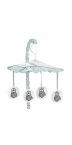 Blue and Grey Jungle Sloth Leaf Unisex Boy or Girl Baby Nursery Musical Crib Mobile