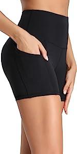 "Women Yoga Sports Out Side Pockets Shorts Running Bike Short Black 4"" Exercise Shorts For Women"