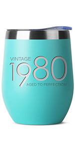 1980 40th Birthday Gifts for Women and Men Mint 12 oz Insulated Stainless Steel Tumbler