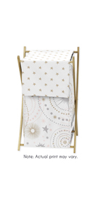 Blush Pink, Gold, Grey and White Star and Moon Baby Kid Clothes Laundry Hamper for Celestial