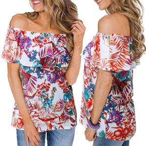 off shoulder floral ruffle tops