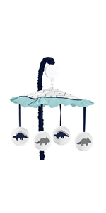 Musical Baby Crib Mobile for Blue and Green Modern Dinosaur Girls or Boys Bedding Collection