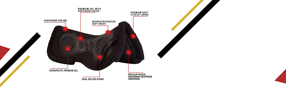 english half pad, saddle, gel, fleece, therapeutic, contoured, western, tack, horse, all purpose