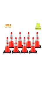 """8 Traffic Cones 28"""""""
