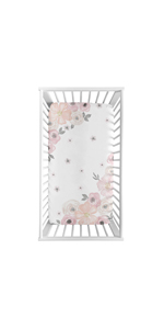 Blush Pink, Grey and White Photo Op Fitted Crib Sheet for Watercolor Floral Collection