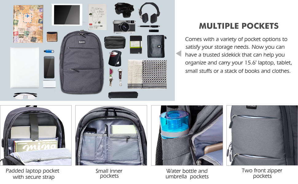 multiple pockets backpack