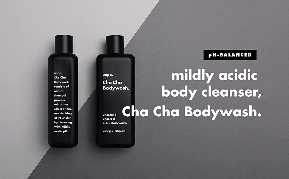 ph balanced mildly acidic body cleanser, chacha bodywash