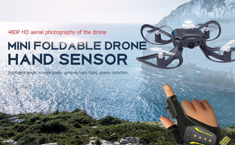 The drone with the background mountain and sea.