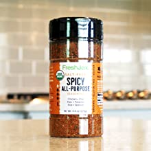 FreshJax Organic Spices: Spicy All Purpose Salt Free Spice Large Bottle