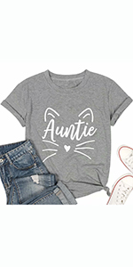 Purr-FECT Aunt T Shirt for Women Perfect Auntie Cat Lover Gift Tshirt Casual Short Sleeve Tees Tops
