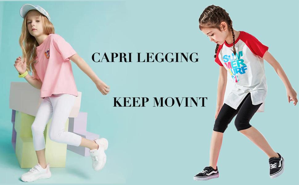 Toddler Little Kids Capri Pants for Summer School Dance Felix /& Flora Black White Leggings for Girls
